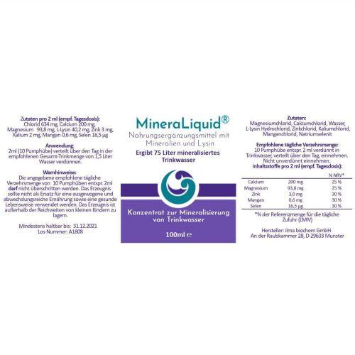 MineraLiquid Inhaltsstoffe und Mineralien